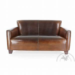 canape club cuir marron vintage 3 places alma saulaie With canapé 3 places cuir marron