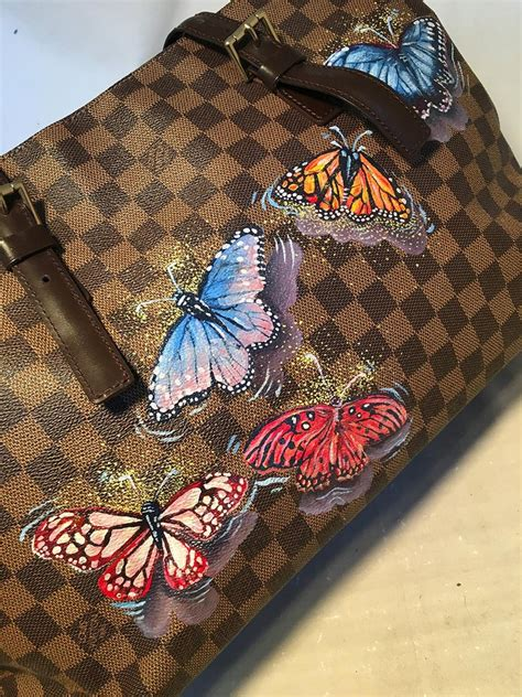 louis vuitton damier ebene customized hand painted butterfly chelsea bag tote  stdibs