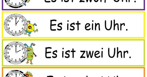 Free  German Printouts For Children  Worksheet Time  Time In German  Available In Spanish