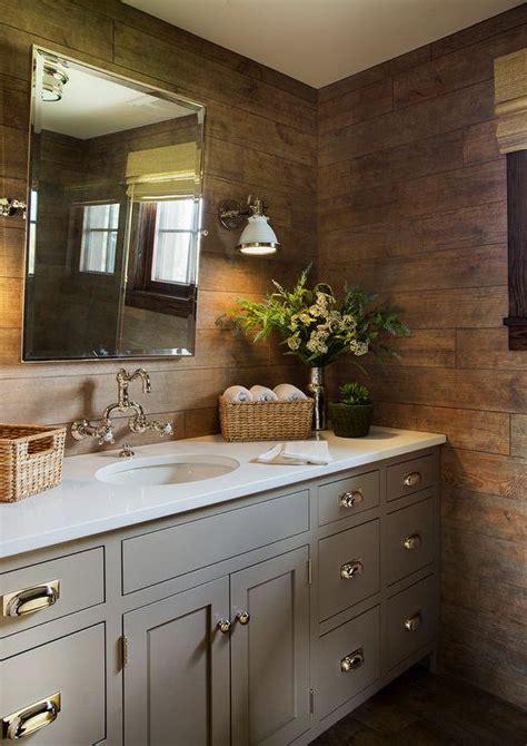 gray vanity  rustic plank backsplash country bathroom