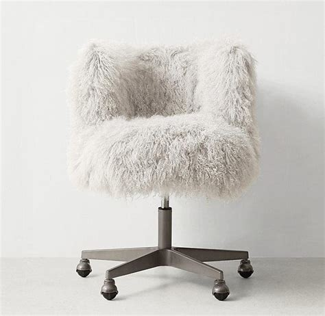 white fur office chair pink faux fur cabriole legs desk chair