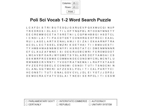 science vocabulary word search worksheet political science vocabulary 1 2 word search puzzle