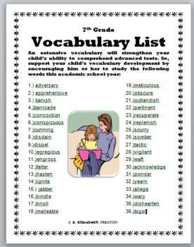 grade vocabulary list   elizabeth creations tpt