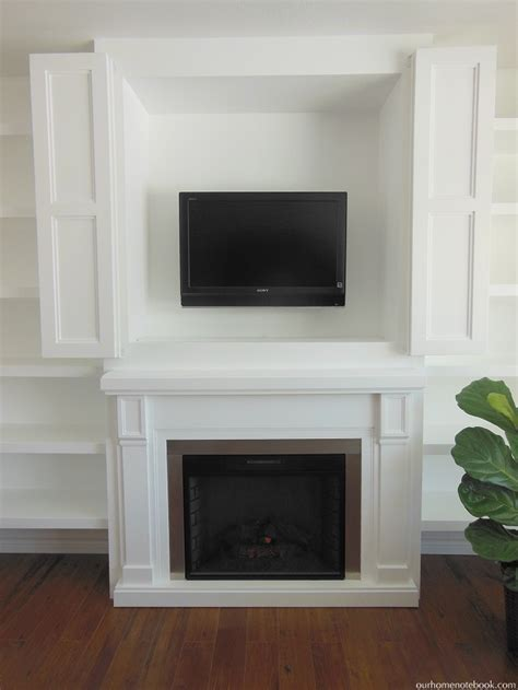 Built In Fireplace & TV Nook With Doors   Our Home Notebook