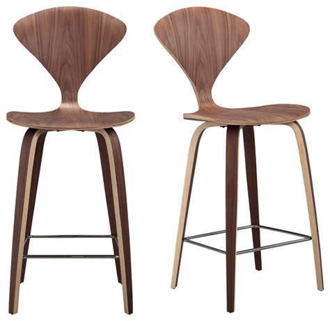 manta modern walnut wood bar stools set of 2 modern