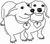 Coloring Printable Dachshund Dog Colourful Templates Animal Template Its sketch template