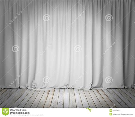 white stage curtain  wooden floor background stock