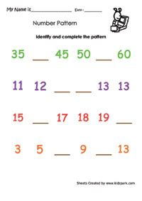 simple pattern worksheet  grade  ordinal numbers
