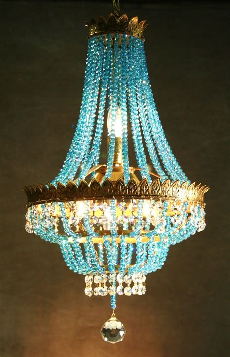 Chandelier For by Vintage Gilt Chandelier With Aqua