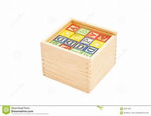 wooden toy cubes with letters on box stock photo image With wooden letters for toy box