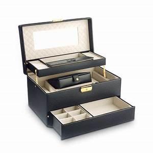 Boite A Boucle D Oreille : coffret bijoux cuir imitation noir femme id es cadeaux maty ~ Teatrodelosmanantiales.com Idées de Décoration