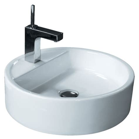 18 inch bathroom sink round porcelain ceramic single hole countertop bathroom