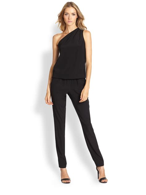 lulus jumpsuit ramy brook lulu stretch silk one shoulder jumpsuit in black