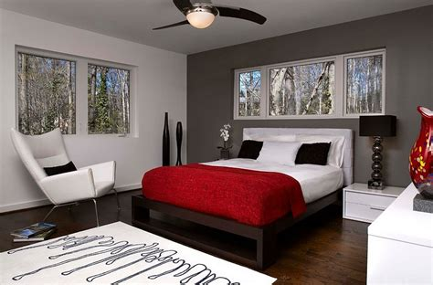 Dashing Bedrooms In Red And Gray