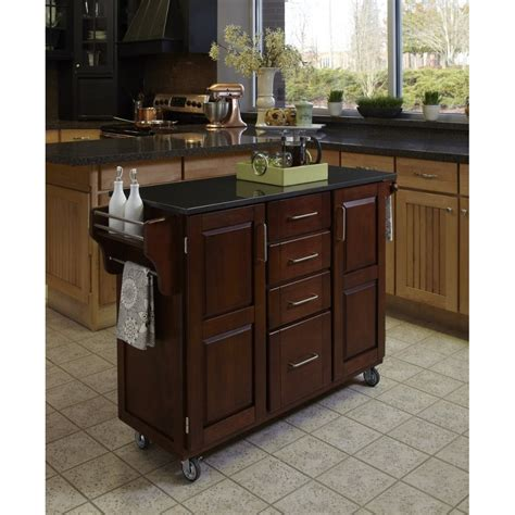 pictures of wood kitchen cabinets create a cart cherry finish black granite top homestyles 7495