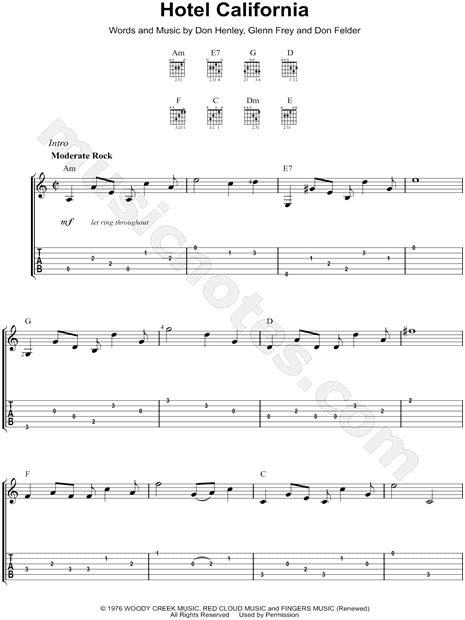 "The Eagles ""hotel California"" Guitar Tab In A Minor  Download & Print  Sku Mn0101767"