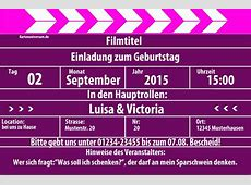 Einladungskarten zum Geburtstag Einladungskarte Kino