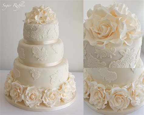 Wedding Cakes With Lace And Roses