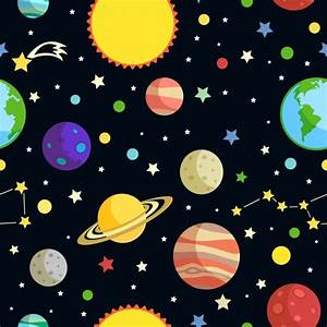 Space seamless pattern with planets stars comets and ...