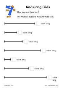 measuring lines worksheet  kindergarten st grade