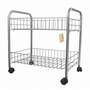 Metal 2 tier wire rolling wheel cart rack bookstorage for Bathroom cart on wheels