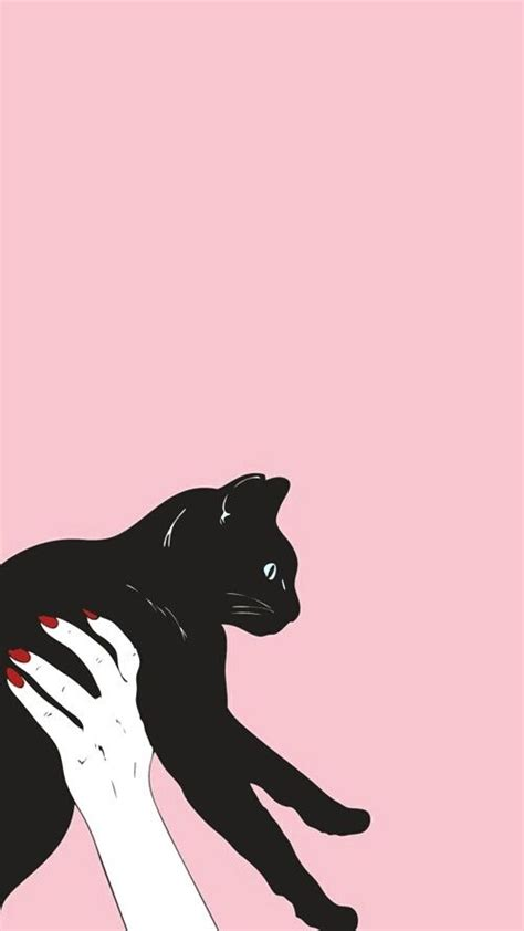 aesthetic cat pink wallpaper