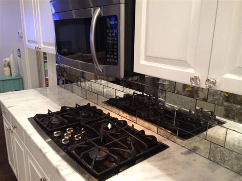Builder's Glass Antique Mirror Backsplash Installed