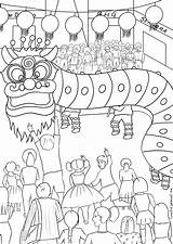 Coloring Dragon Dance Singapore Children sketch template