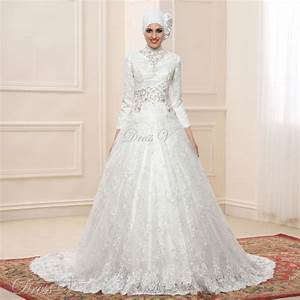 lace ball gown long sleeve muslim wedding dresses hijab With muslim wedding dresses 2017