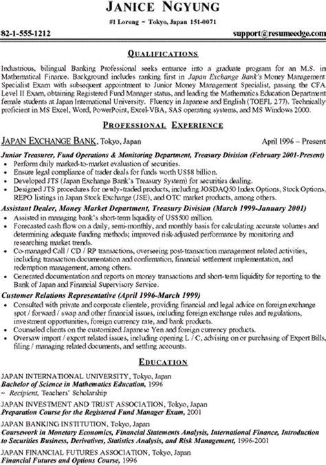 finance fresh graduate resume study finance