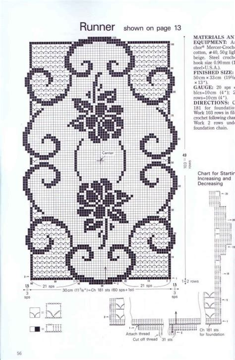 napperon rectangulaire avec roses grille filet crochet 2