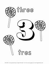 Coloring Spanish Tres Numbers Pages Learning Three Popular Word sketch template