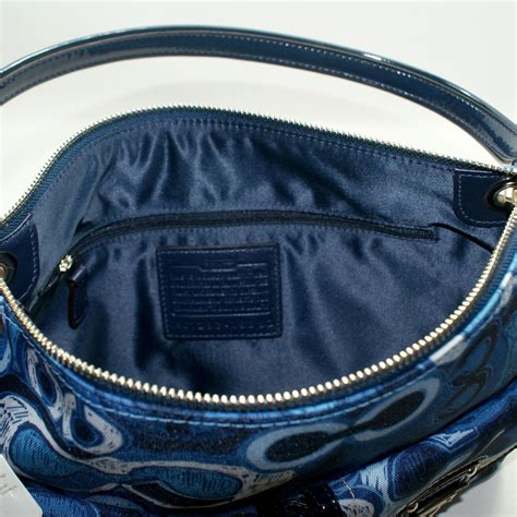coach poppy denim print double pocket hippie shoulder bag crossbody bag  coach