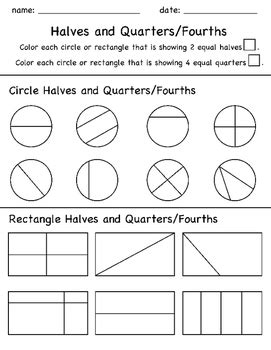 Halves And Quarters Fractions Color In Worksheet By The Buzzy Teacher