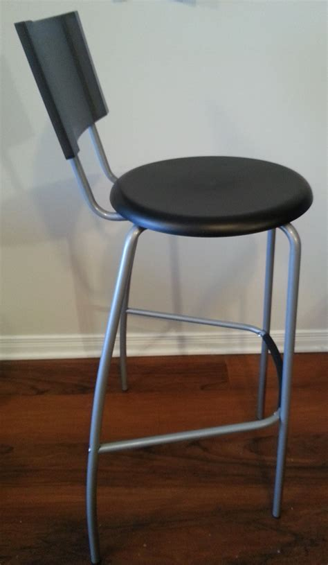2 ikea black counter height bar stools with backrest