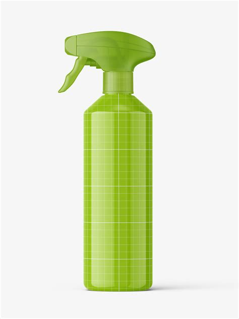 Includes special layers and smart objects for your work. Bottle with trigger spray mockup / glossy - Smarty Mockups