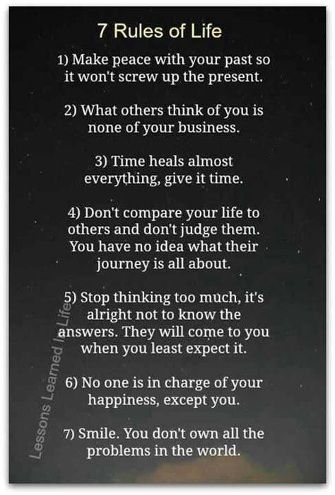 7 Rules Of Life  Quotes For The Heart
