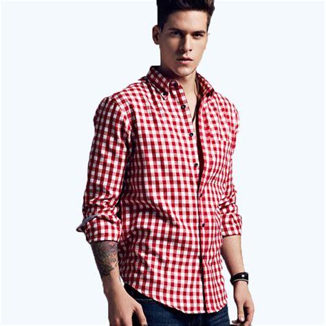 plaid slim fit sleeve shirt get cheap dress shirt checkered aliexpress