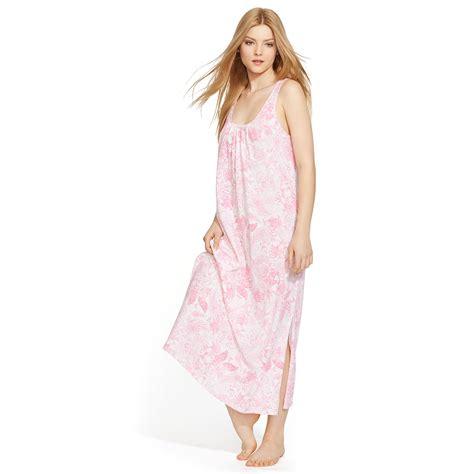 lyst ralph lauren floral cotton long sleep gown  pink