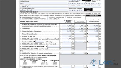 Form Mo 1120x Amended Corporation Income Tax Return