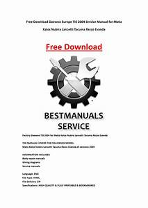 Daewoo Europe Tis 2004 Service Manual For Matiz Kalos