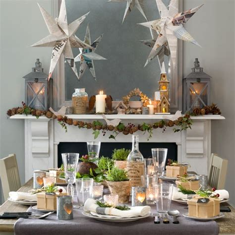christmas dining room with paper star decorations budget