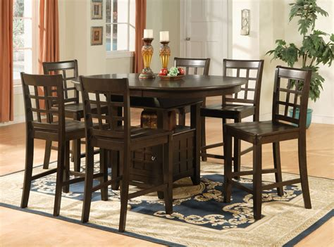 bar height table 6 chairs oval counter height dining set 7pc table 6 bar stools ebay