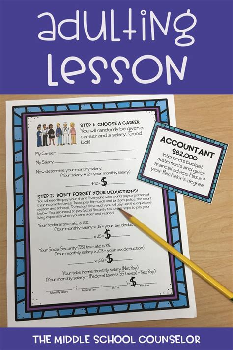 college and career activities budgeting financial literacy middle school counseling