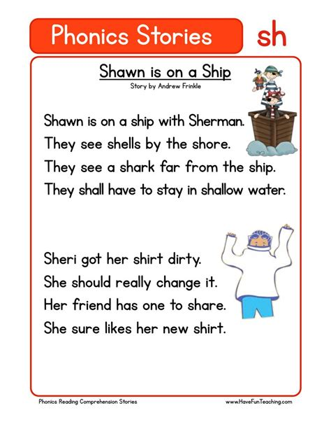 phonics words stories sh reading comprehension worksheet