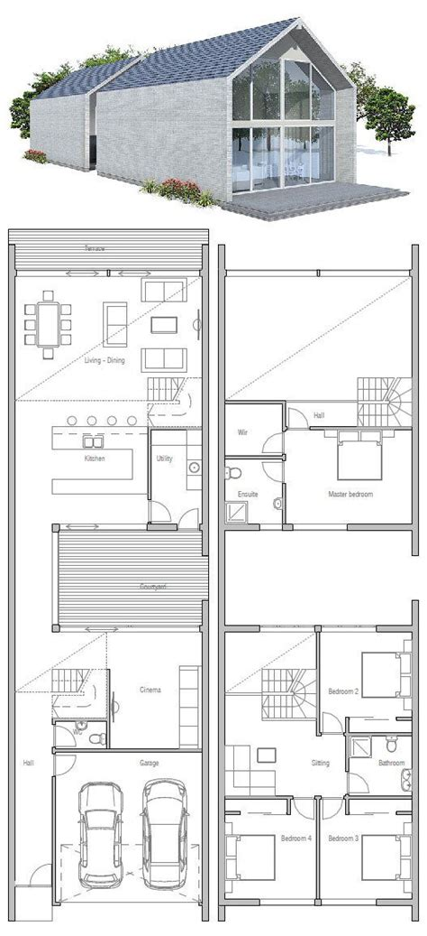 narrow house small private courtyard floor plan