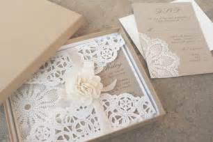 paper for wedding invitations lace and kraft paper boxed wedding invitations onewed