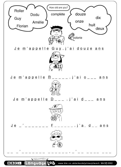 images  french introductions worksheet