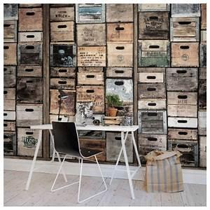 Papier Peint Style Industriel : papier peint style industriel vielles caisses en bois ~ Dailycaller-alerts.com Idées de Décoration