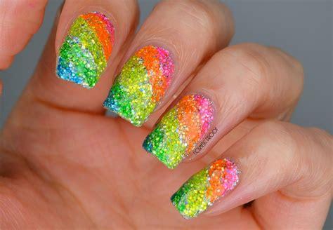 Rainbow Glitter Highlighter Nails